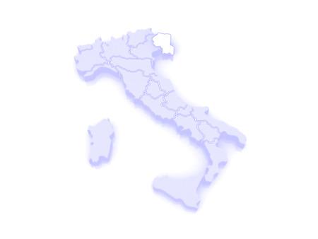 republics: Map of Friuli-Venezia Giulia. Italy. 3d
