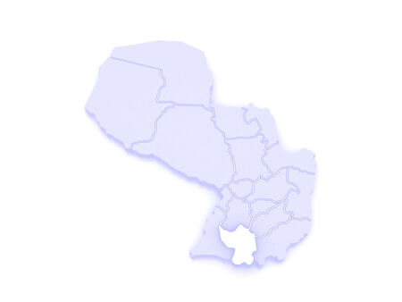 republics: Map of Misiones. Paraguay. 3d Stock Photo