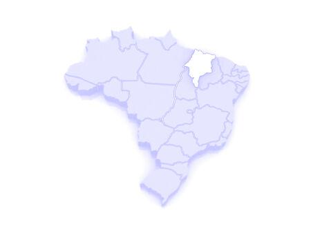 republics: Map of Maranhao. Brazil. 3d Stock Photo