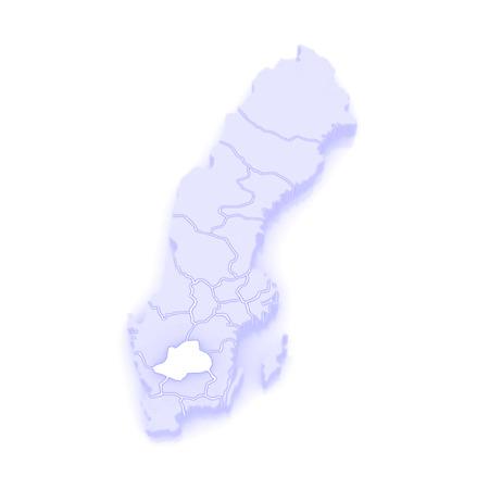 republics: Map of Jonkoping. Sweden. 3d