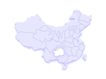 republics: Map of Guizhou. China. 3d
