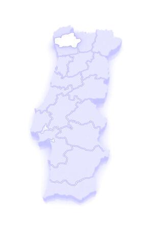republics: Map of Braga. Portugal. 3d