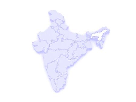 assam: Map of Assam. India. 3d Stock Photo
