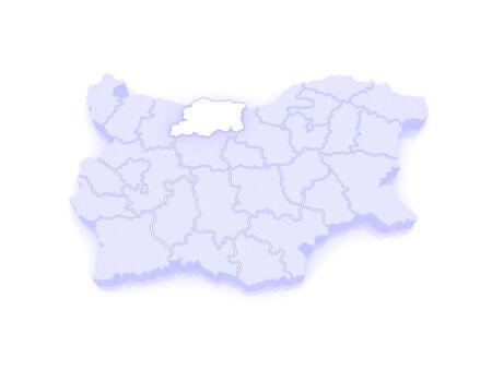 bulgaria: Map of Pleven region. Bulgaria. 3d Stock Photo
