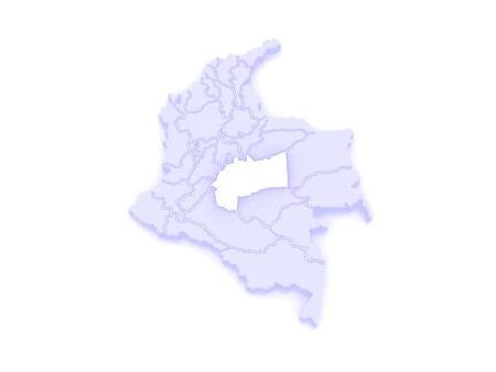 meta: Map of Meta. Colombia. 3d