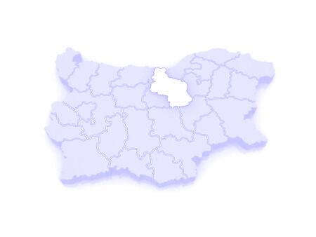 republics: Map of Veliko Tarnovo Province. Bulgaria. 3d