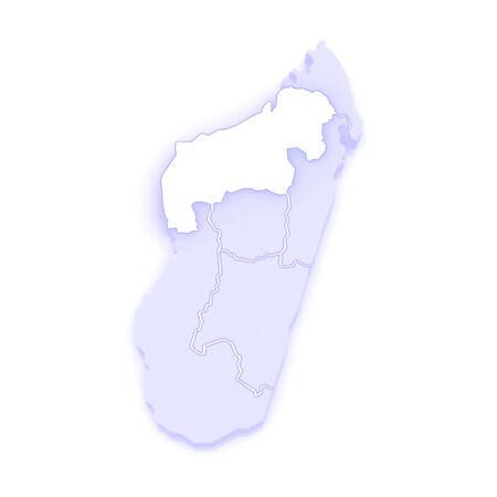 republics: Map of Mahajanga. Madagascar. 3d Stock Photo