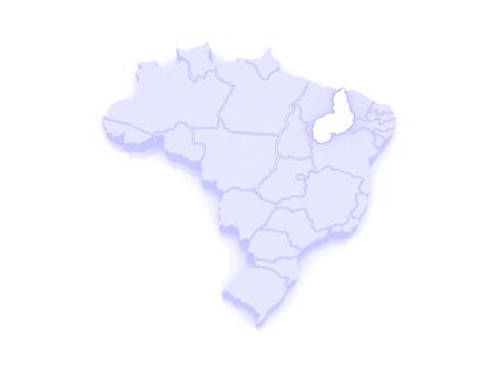 republics: Map of Piaui. Brazil. 3d Stock Photo