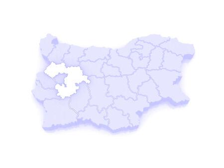 republics: Map of Sofia region. Bulgaria. 3d Stock Photo