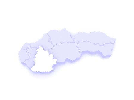 republics: Map of Nitra. Slovakia. 3d