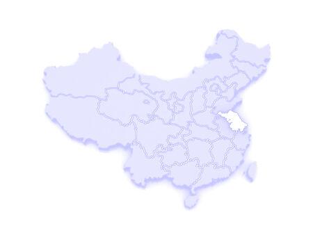 jiangsu: Map of Jiangsu. China. 3d Stock Photo