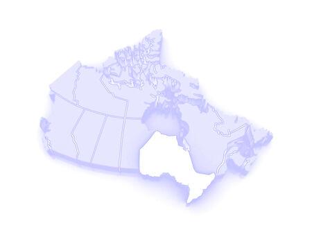 ontario: Map of Ontario. Canada. 3d