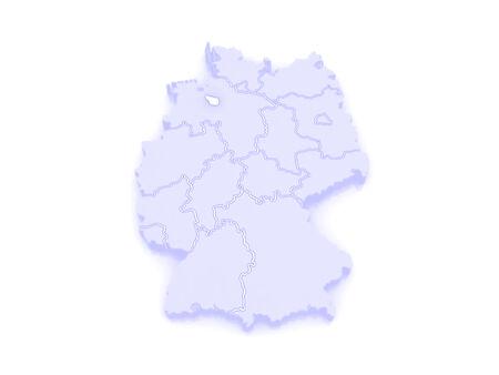 bremen: Map of Bremen. Germany. 3d Stock Photo