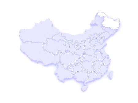 republics: Map of Heilongjiang. China. 3d