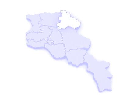 map of armenia: Map of Tavush. Armenia. 3d
