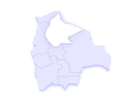 mapa de bolivia: Mapa de Beni. Bolivia. 3d Foto de archivo