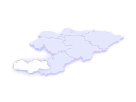 kyrgyzstan: Mapa de Batken. Kirguist�n. 3d Foto de archivo