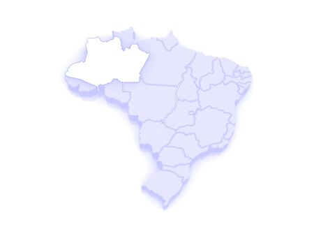 amazonas: Map of Amazonas. Brazil. 3d