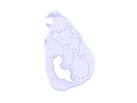 republics: Map of Sabaragamuwa. Sri Lanka. 3d Stock Photo