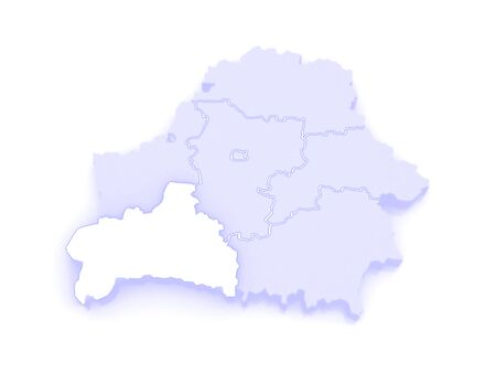 republics: Map of Brest region. Belarus. 3d Stock Photo
