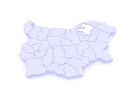 bulgaria: Map of Razgrad region. Bulgaria. 3d