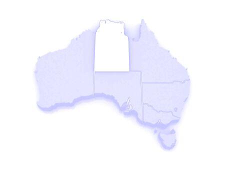 republics: Map of Northern Territory. Australia. 3d Stock Photo