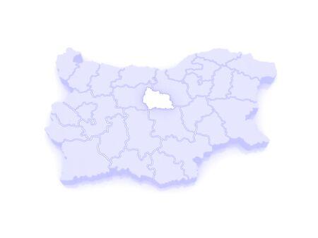 bulgaria: Map of Gabrovo region. Bulgaria. 3d