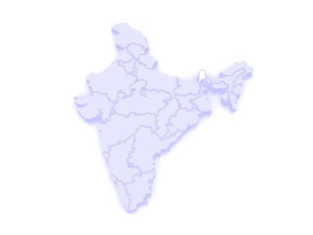 republics: Map of Sikkim. India. 3d