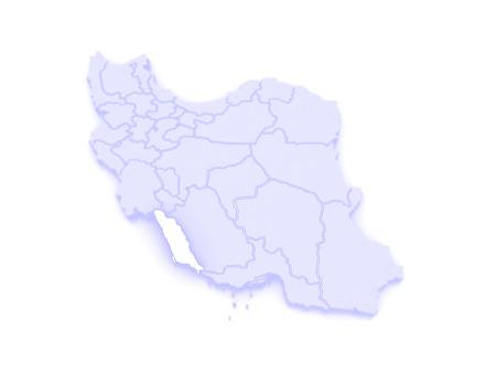 republics: Map of Bushehr. Iran. 3d