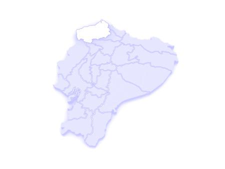 ecuador: Map of Esmeraldas. Ecuador. 3d