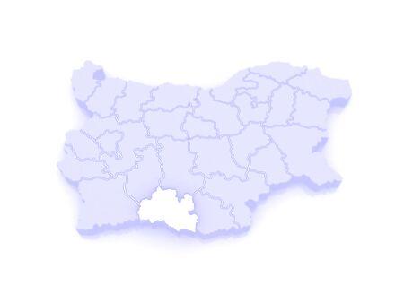 bulgaria: Map of Smolyan Province. Bulgaria. 3d Stock Photo