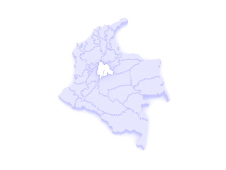 republics: Map of Cundinamarca. Colombia. 3d Stock Photo