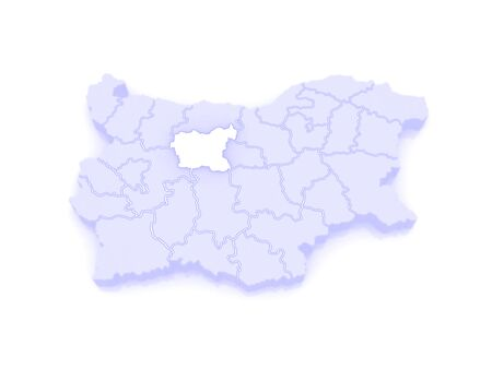 bulgaria: Map of Lovech Province. Bulgaria. 3d
