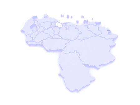 republics: Map of Carabobo. Venezuela. 3d Stock Photo