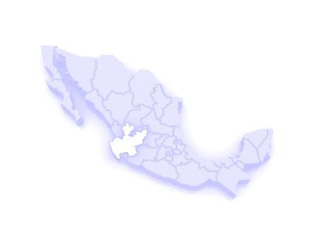 jalisco: Map of Jalisco. Mexico. 3d Stock Photo