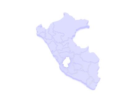 republics: Map of Huancavelica. Peru. 3d Stock Photo