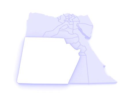republics: Map of New Valley (Al-Wadi al-Jadid). Egypt. 3d