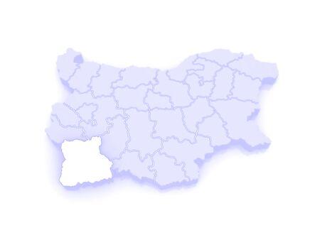 bulgaria: Map of Blagoevgrad Province. Bulgaria. 3d Stock Photo