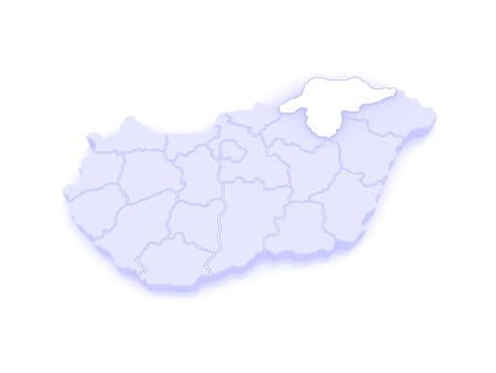 republics: Map of Borsod-Abauj-Zemplen. Hungary. 3d