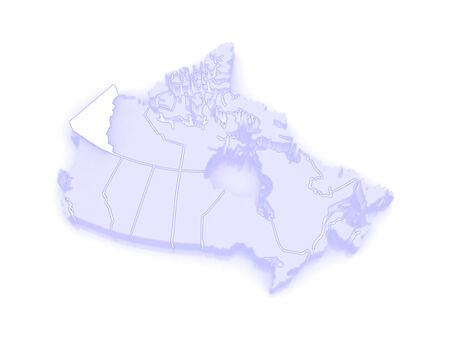 yukon: Map of Yukon. Canada. 3d