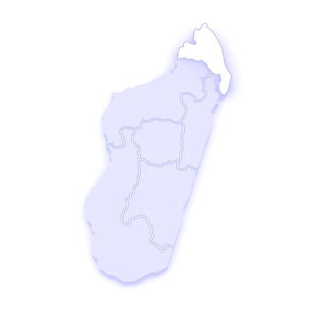republics: Map of Antsiranana. Madagascar. 3d