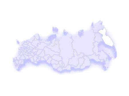 federation: Map of the Russian Federation. Kamchatka Krai. 3d