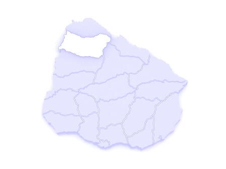 Map of Salto. Uruguay. 3d