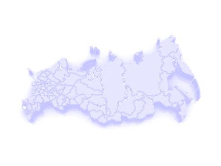 federation: Map of the Russian Federation. Republic of Karachay-Cherkessia. 3d Stock Photo