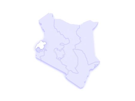 kenya: Map of West. Kenya. 3d Stock Photo