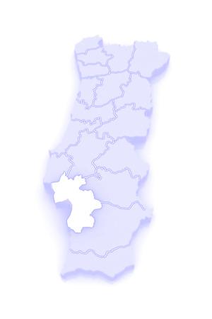 Map of Setubal. Portugal. 3d photo