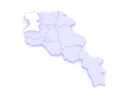 map of armenia: Map of Chirac. Armenia. 3d