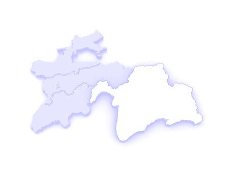 tajikistan: Map of Gorno-Badakhshan. Tajikistan. 3d