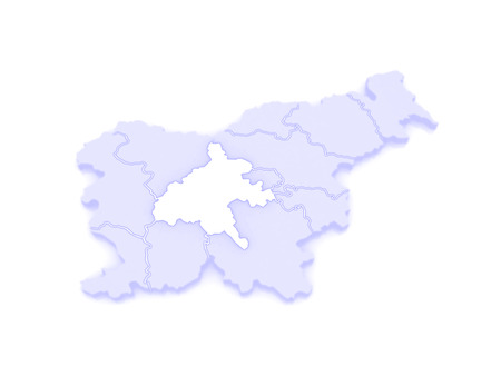 slovenia: Map of Sredneslovensky region Central Slovenia. Slovenia. 3d
