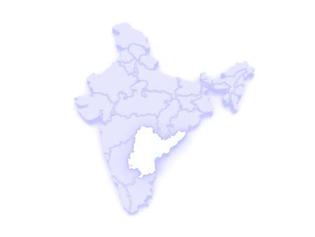 andhra: Map of Andhra Pradesh. India. 3d